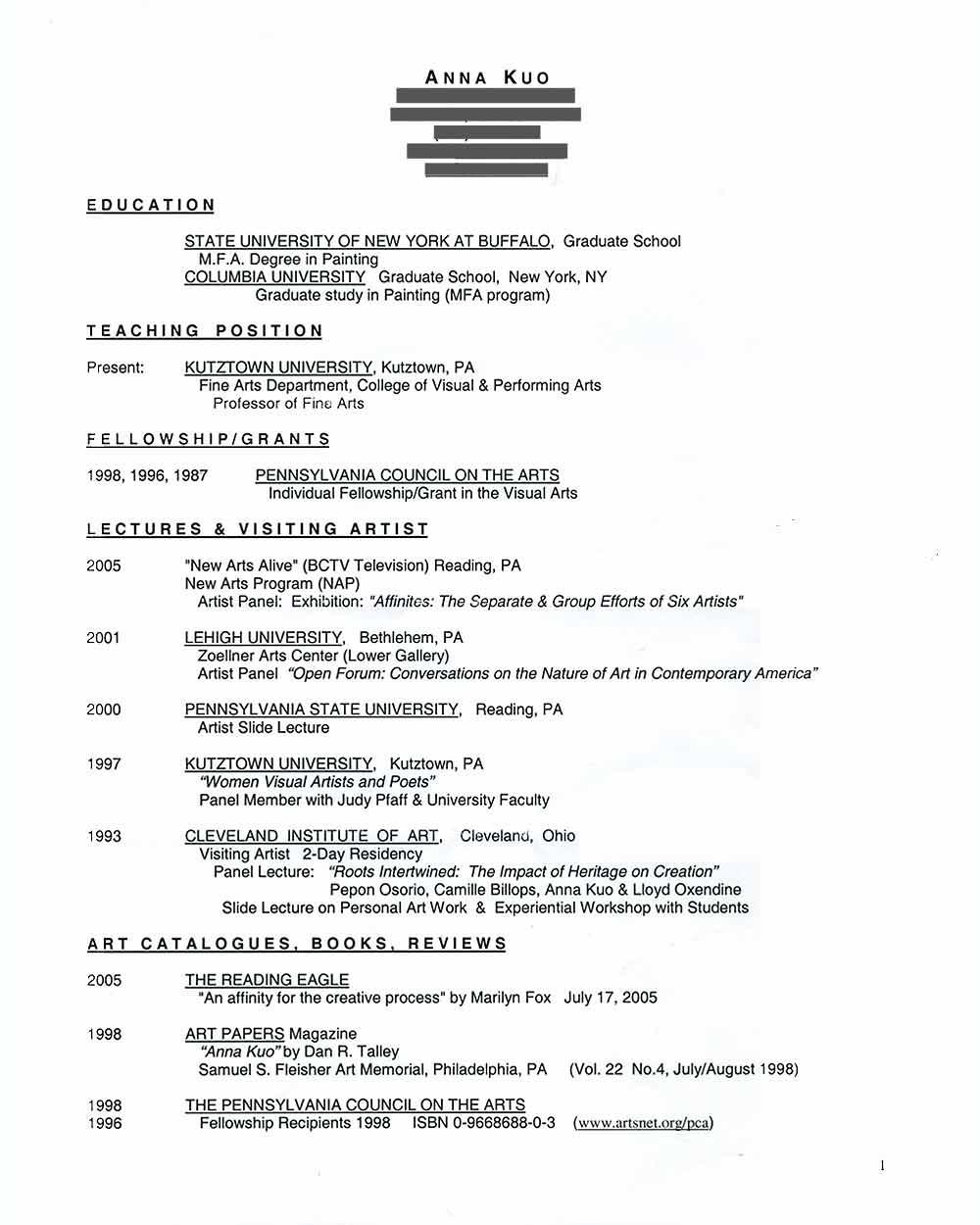 Anna Kuo's Resume, pg 1